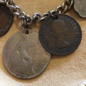 Charm bracelet, vintage coin